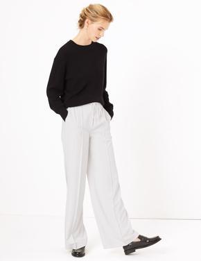 Kadın Beyaz Bağcıklı Wide Leg Pantolon