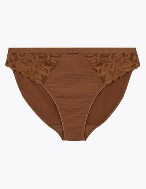 Kadın Kahverengi Dantelli High Leg Külot