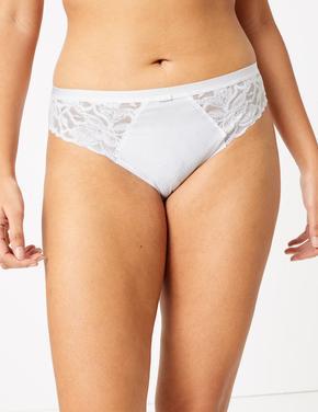 Kadın Beyaz Dantel Detaylı High Leg Külot