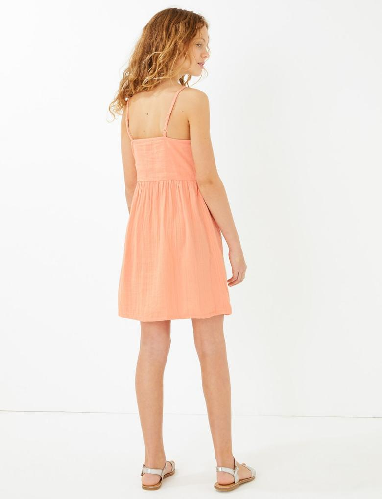 Kız Çocuk Turuncu Düğme Detaylı Saf Pamuklu Elbise
