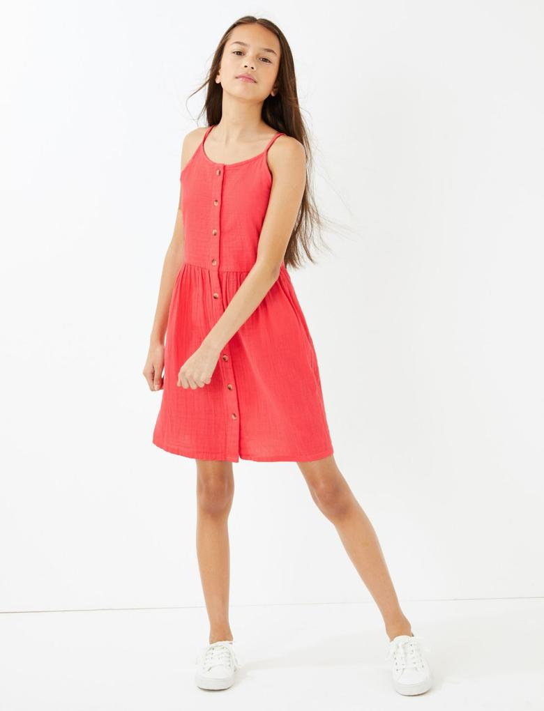 Kız Çocuk Kırmızı Düğme Detaylı Saf Pamuklu Elbise