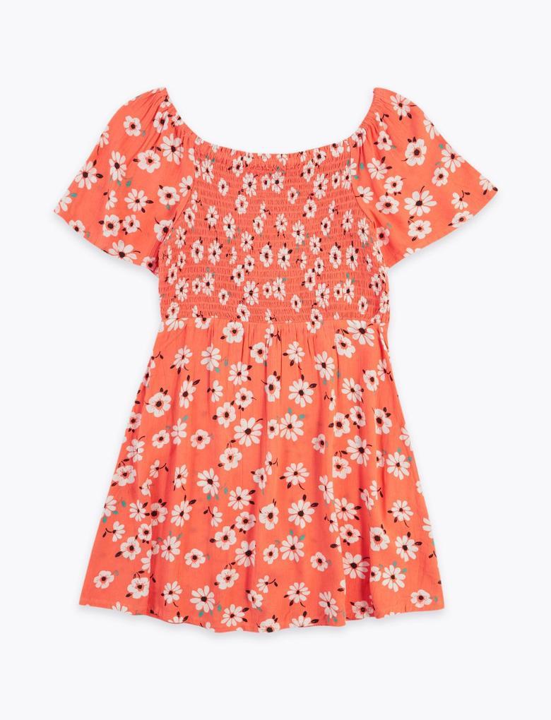 Kız Çocuk Kırmızı Kısa Kollu Çiçek Desenli Elbise