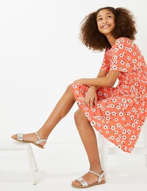 Kız Çocuk Kırmızı Papatya Desenli Elbise