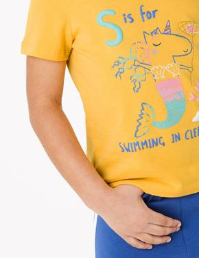 Kız Çocuk Sarı Mermicorn İşlemi Kısa Kollu T-Shirt