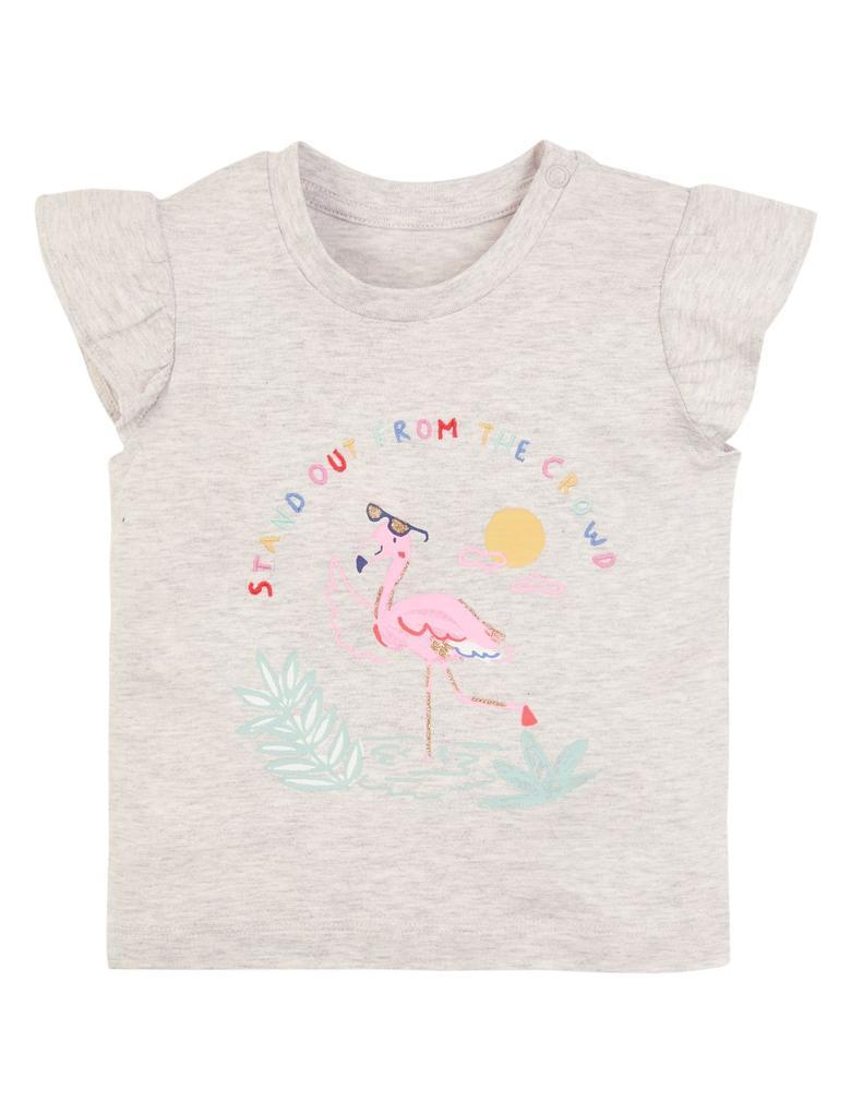 Bebek Gri Sloganlı Kısa Kollu T-Shirt