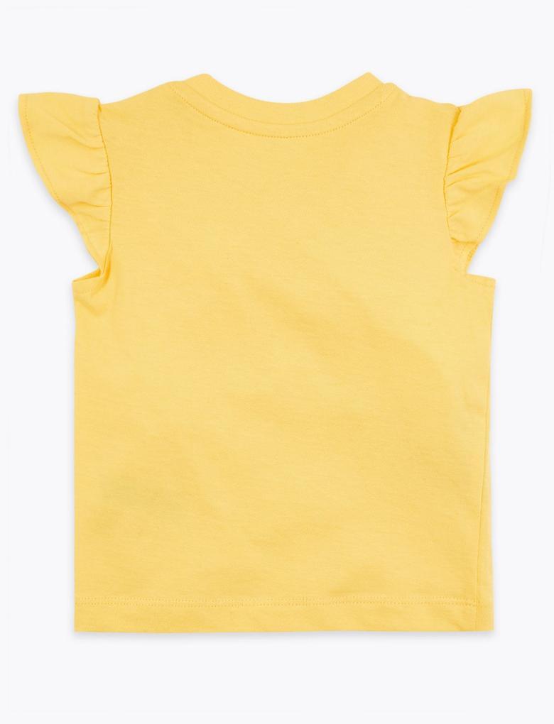 Bebek Sarı Sloganlı Kısa Kollu T-Shirt