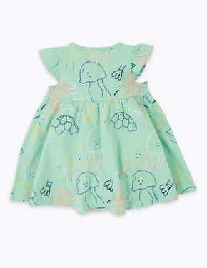Bebek Mavi Kısa Kollu Desenli Elbise