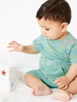 Bebek Mavi Kısa Kollu Tulum