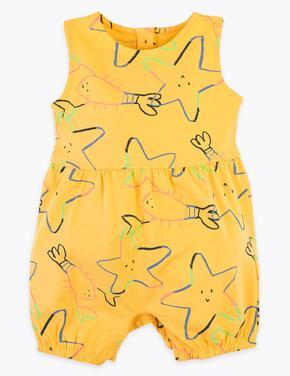 Bebek Sarı Kolsuz Desenli Tulum
