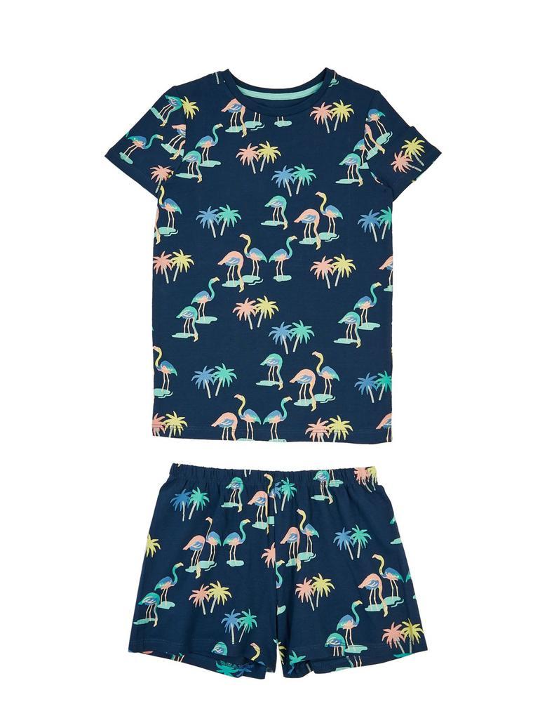 Çocuk Lacivert Flamingo Desenli Kısa Kollu Pijama Takımı