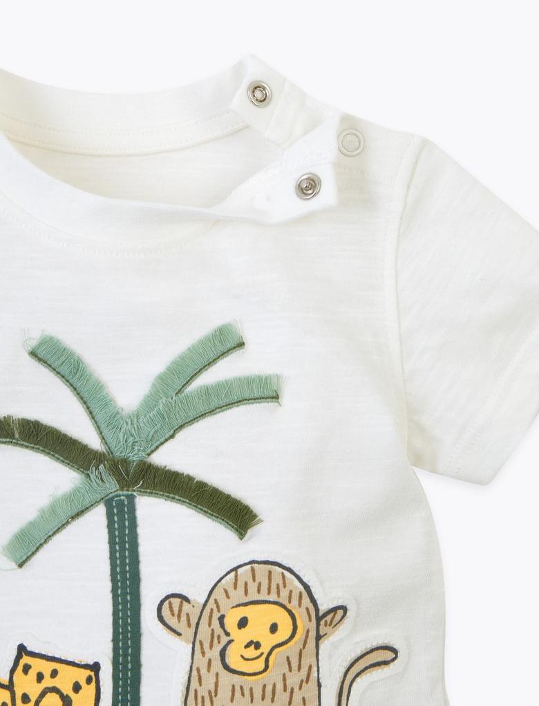 Bebek Sarı Desenli Saf Pamuklu Üst ve Alt Takım
