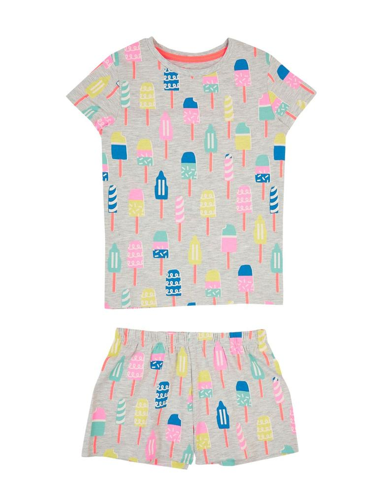Çocuk Gri Desenli Kısa Kollu Pijama Takımı