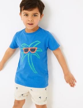 Erkek Çocuk Mavi Palmiye Ağacı Desenli T-Shirt