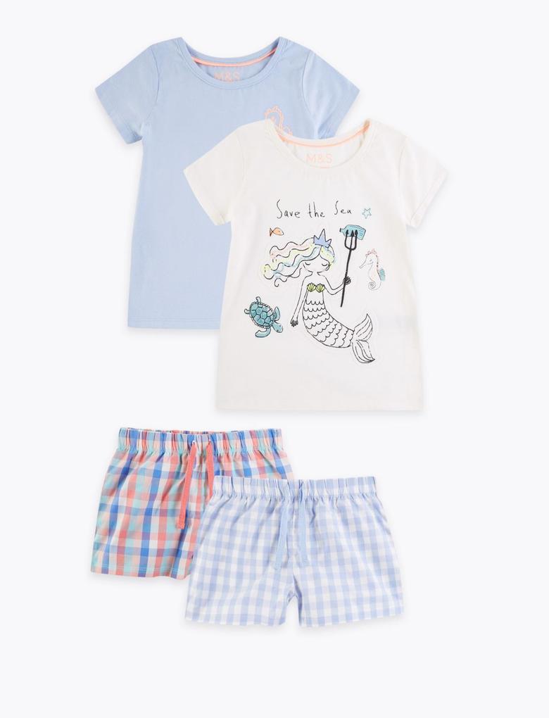 Çocuk Mavi 2'li Kısa Kollu Pijama Seti