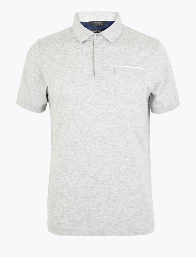 Erkek Gri Kısa Kollu Polo Yaka T-Shirt