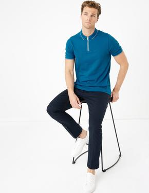 Mavi Yarım Fermuarlı Polo Yaka T-Shirt