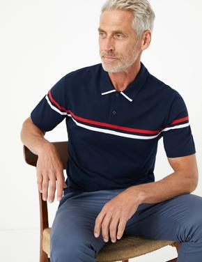 Lacivert Şeritli Polo Yaka T-Shirt