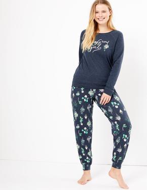 Kadın Lacivert Uzun Kollu Desenli Pijama Takımı
