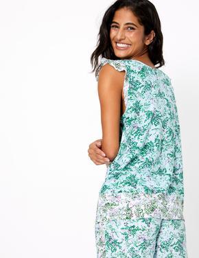 Kadın Yeşil Çiçek Desenli Pijama Üstü