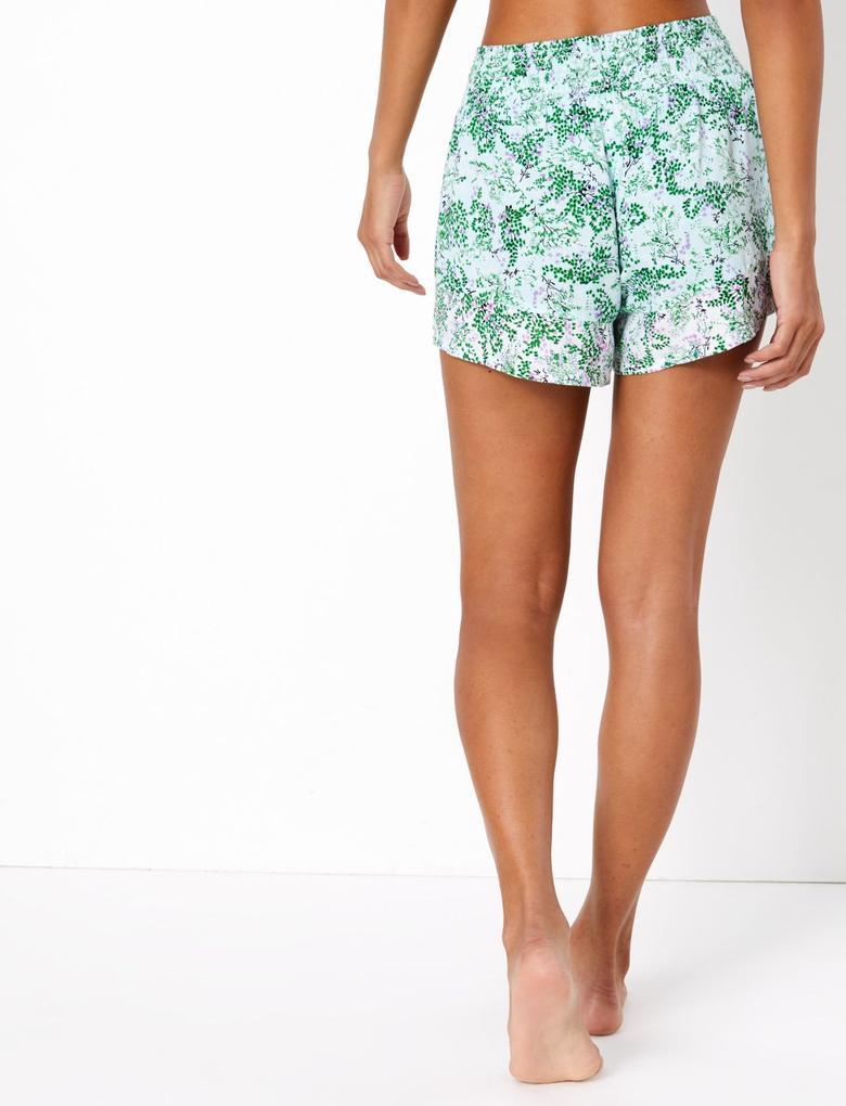 Kadın Yeşil Çiçek Desenli Şort Pijama