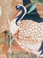 Ev Yeşil Kuş Desenli Dekoratif Yastık
