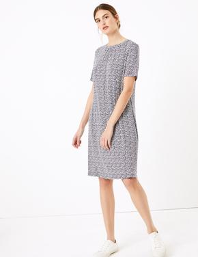Kadın Lacivert Kısa Kollu Desenli Swing Elbise