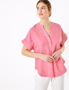 Kadın Pembe Keten Popover Bluz