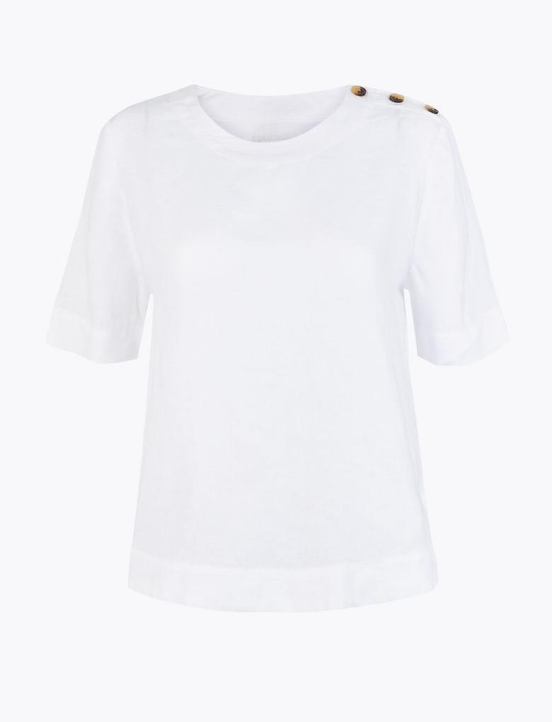 Kadın Beyaz Düğme Detaylı Keten Bluz