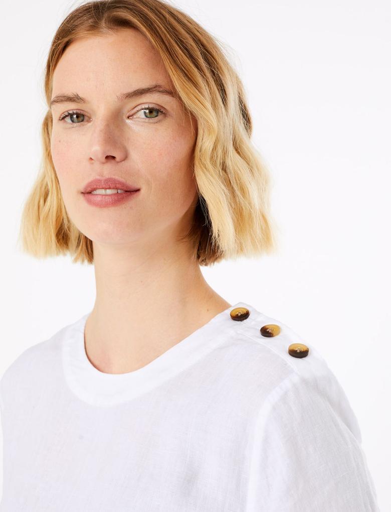 Kadın Beyaz Düğme Detaylı  Keten T-Shirt