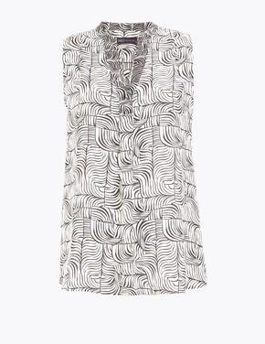 Kadın Bej Desenli V Yaka Bluz
