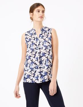 Kadın Lacivert Çiçek Desenli V Yaka Bluz