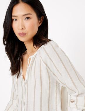 Kadın Bej Uzun Kollu Çizgili Bluz