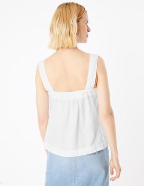 Kadın Beyaz Kare Yaka Kamisol Bluz