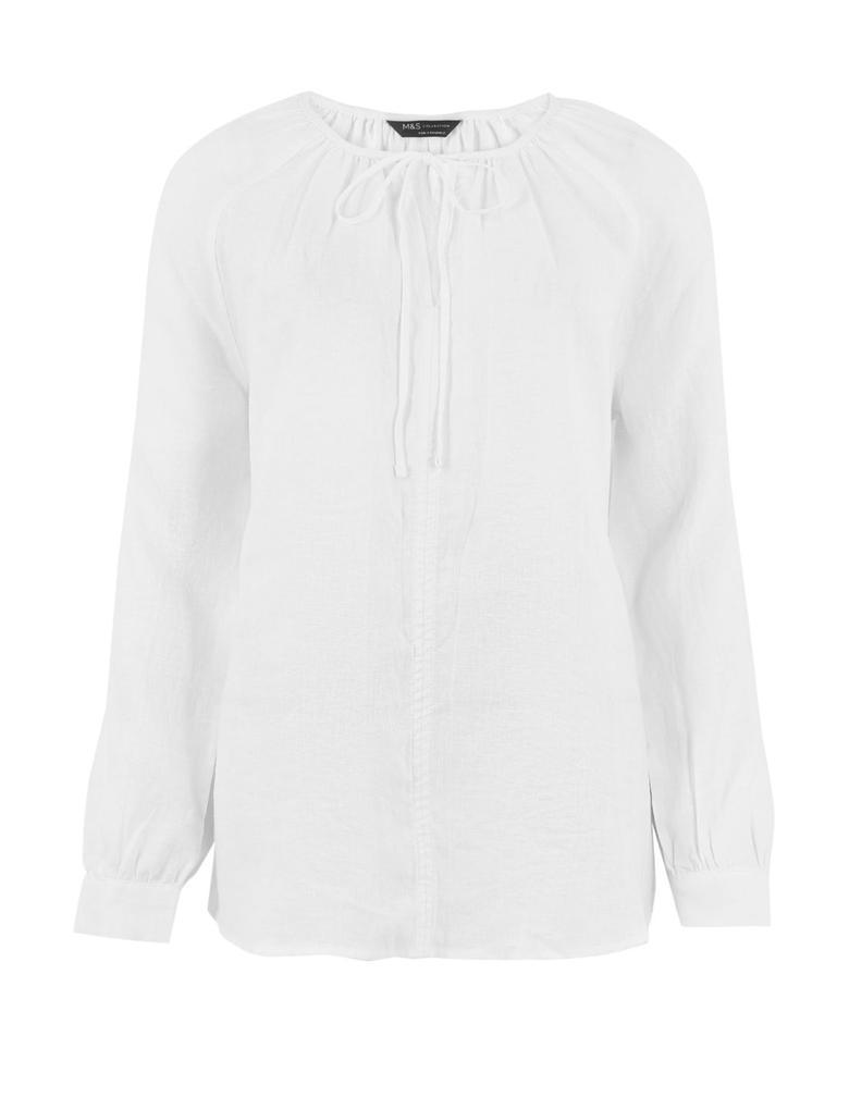 Kadın Beyaz Uzun Kollu Popever Bluz