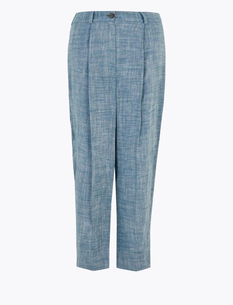 Kadın Mavi 7/8 Tapered Crop Keten Pantolon