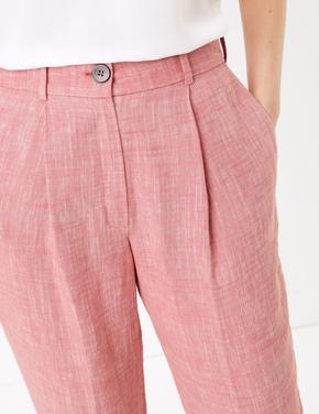 Kadın Turuncu Tapered Keten Pantolon