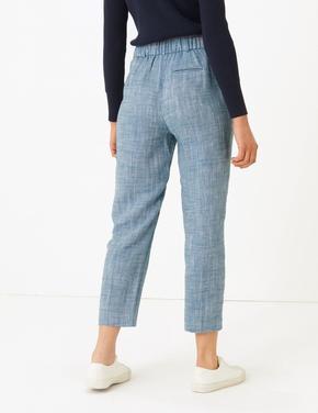 Kadın Mavi Keten Karışımlı Tapered Leg 7/8 Pantolon