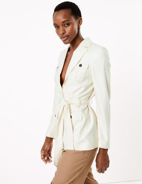 Kadın Renksiz Kemerli Keten Blazer Ceket