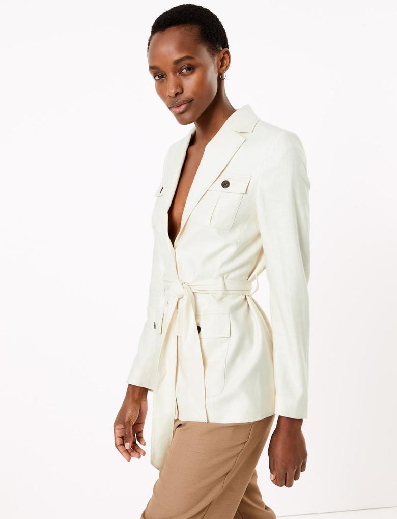 Kadın Renksiz Kemerli Utility Ceket