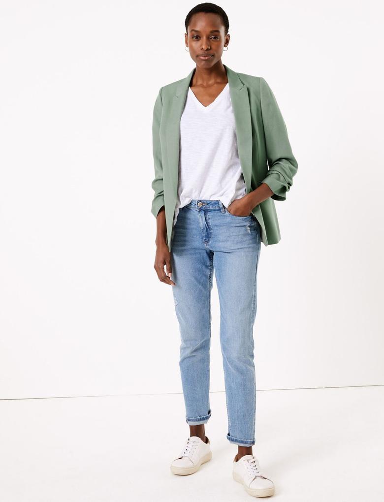 Kadın Yeşil Kolları Büzgülü Blazer Ceket