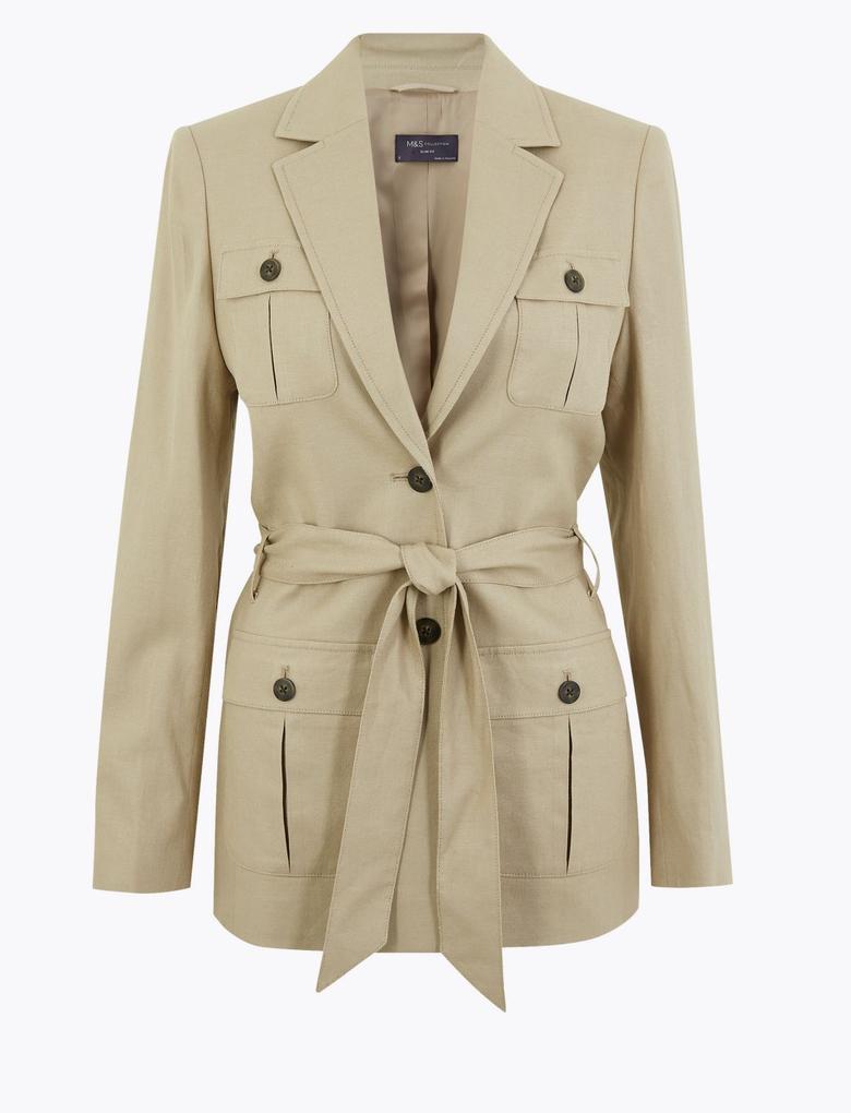 Kadın Kahverengi Kemerli Keten Blazer Ceket
