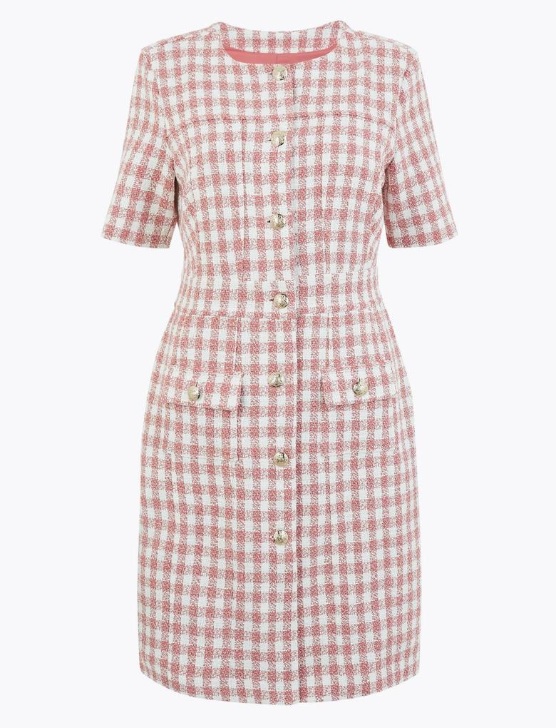 Kadın Pembe Ekose Tüvit Elbise