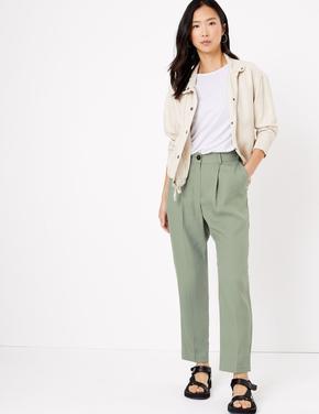 Kadın Yeşil 7/8 Tapered Crop Pantolon