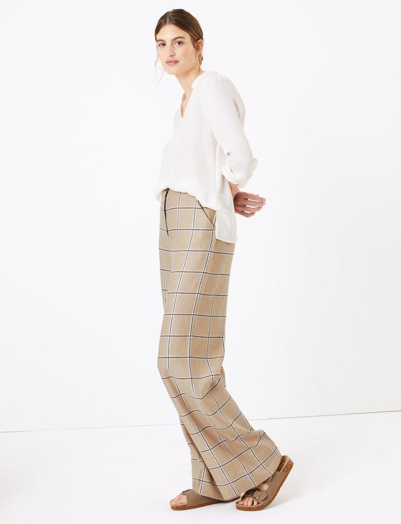 Kadın Kahverengi Ekose Wide Leg Pantolon