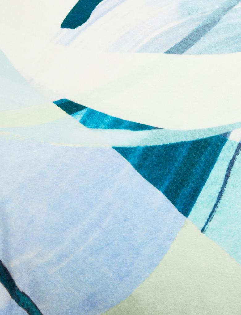 Ev Mavi Desenli Kadife Dekoratif Yastık