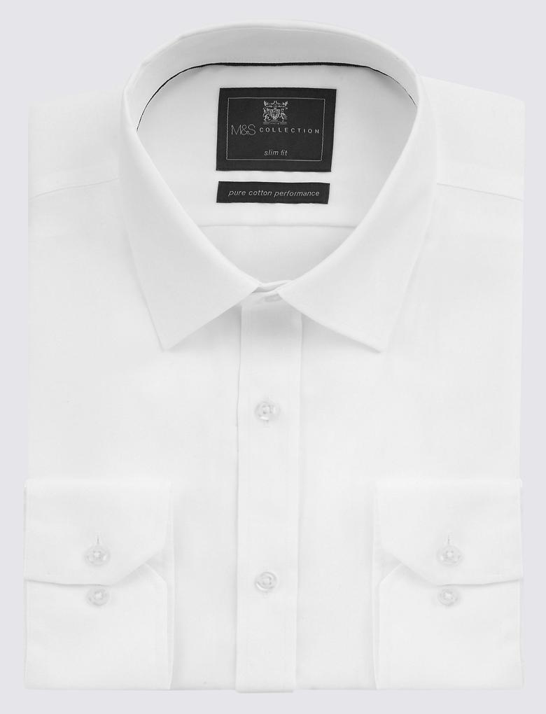 Beyaz Saf Pamuklu Ütü Gerektirmeyen Slim Gömlek