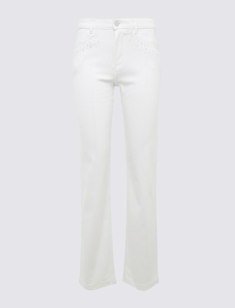 Beyaz Straight Leg Pantolon