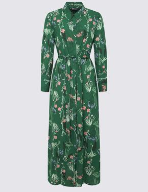Kadın Yeşil Maxi Gömlek Elbise