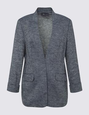 Kadın Lacivert Cepli Keten Ceket