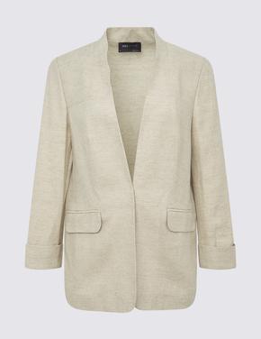 Kadın Renksiz Cepli Keten Ceket